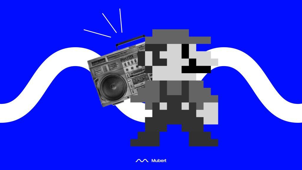 Super Mario Holding a Radio Music Player